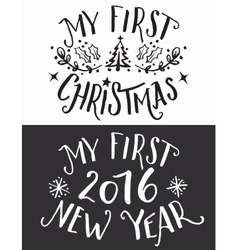 My first Christmas and New Year lettering set vector