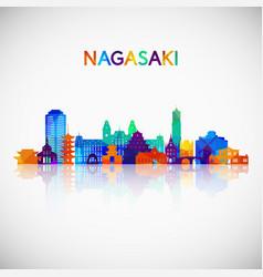 Nagasaki skyline silhouette in colorful geometric vector