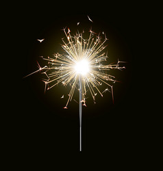 new year sparkler candle isolated on black backgro vector image