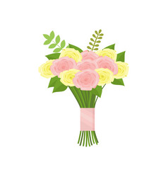 nice bouquet of pink and yellow roses tied with vector image