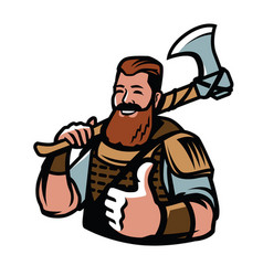 nordic viking mascot warrior barbarian sport vector image
