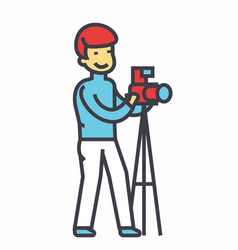 Photographer with camera and tripod photo studio vector