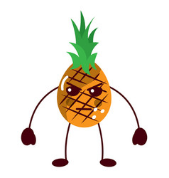Pinapple angry fruit kawaii icon image vector