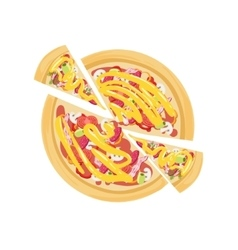 Pizza With Salami And Tomato vector
