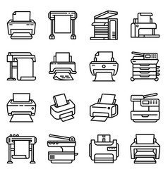 Printer icon outline style vector