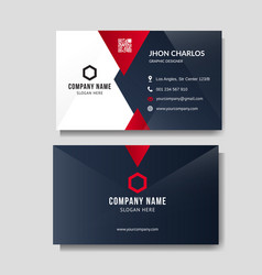 Professional red business card layout vector