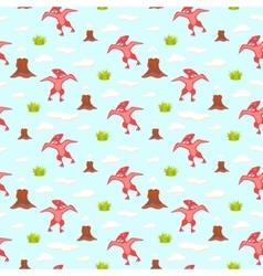 pterodactyl kid seamless pattern vector image