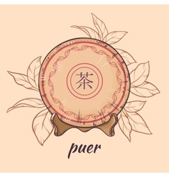 puer tea on brown background vector image