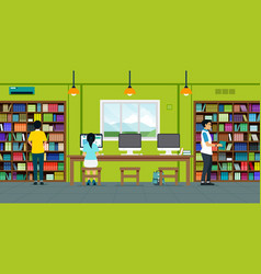 readers in library vector image