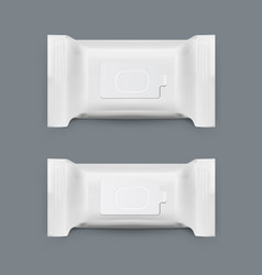 realistic white wet wipes plastic pack set vector image