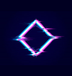 rhombus with glitch effect distorted glitch style vector image