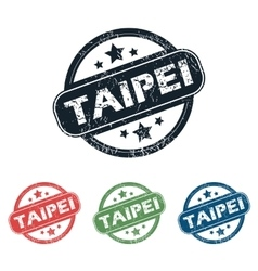 Round Taipei city stamp set vector