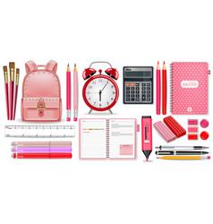 School supplies pink set realistic alarm vector