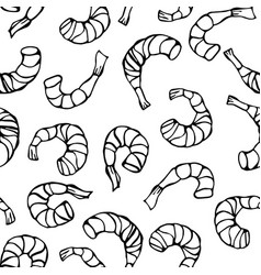 seafood seamless pattern shrimp or prawn vector image