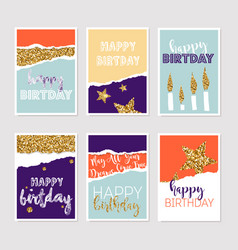 set birthday greeting cards with gold glitter vector image