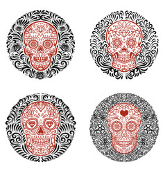 set emblems with sugar skulls with floral vector image