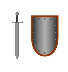 Set of sign shield and sword silver 1405 vector image