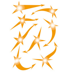 Set of star arrow stickers vector
