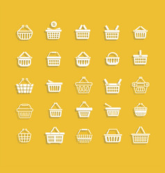 Set of white shopping basket vector