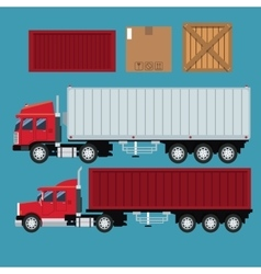 Set truck trailer container delivery transport vector