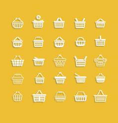 set white shopping basket vector image