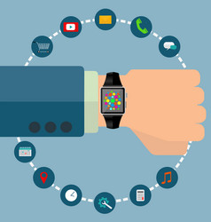 smart watch with icons concept vector image