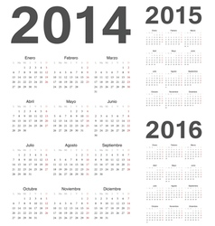 Spanish 2014 2015 2016 year calendars vector image
