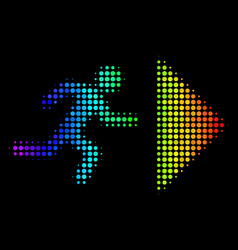 Spectral colored dot exit direction icon vector