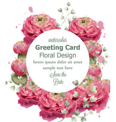 spring flowers greeting card watercolor vector image