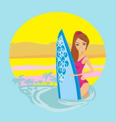 Surfer girl on a beach icon vector