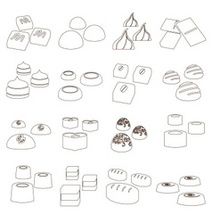 Sweet chocolate truffles styles outline icons set vector