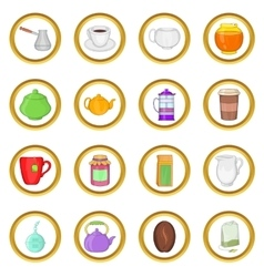 Tea and coffee set cartoon style vector