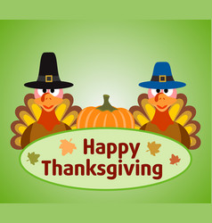 Thanksgiving day background with turkey and pumpk vector