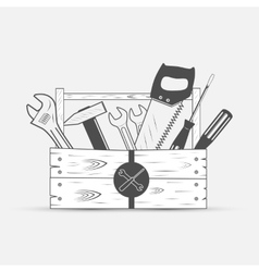 tool set in wood box vector image