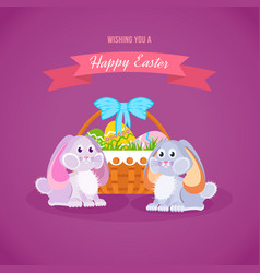 Two lovely rabbits near basket with easter eggs vector