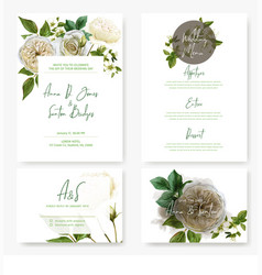 Wedding stationary kit with watercolor white roses vector