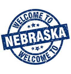 Welcome to nebraska blue stamp vector