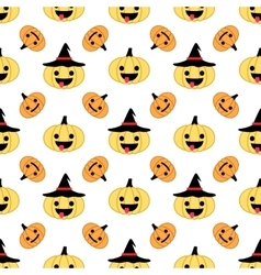 White Halloween pumpkin seamless pattern with hats vector image