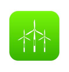 wind generator turbines icon digital green vector image