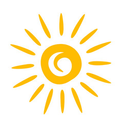 yellow sun icon bright summer sunlight drawing vector image