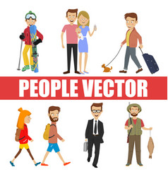 young people with various characters vector image