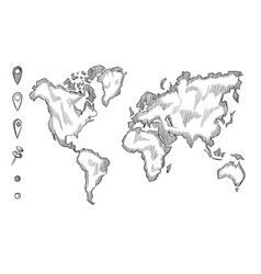 hand drawn rough sketch world map with doodle vector image vector image