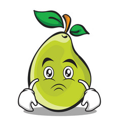 sad face pear character cartoon vector image