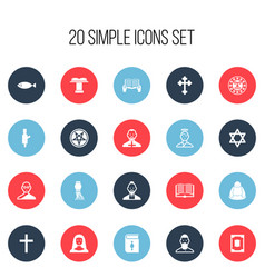 set of 20 editable religion icons includes vector image vector image