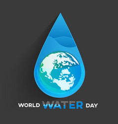 world water day black background greeting card vector image vector image