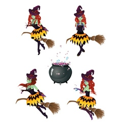 Dark Witch with Broom4 vector image vector image