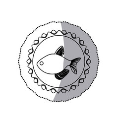 sticker monochrome line contour with fish in vector image
