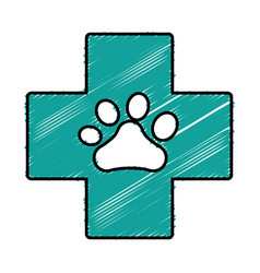 Cross with dog paw icon vector