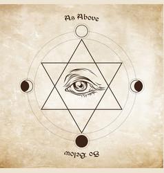 Eye of providence in the center of the hexagram vector