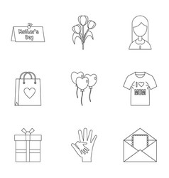 happy mama day icon set outline style vector image